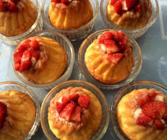Mini berry babas served in ramekins