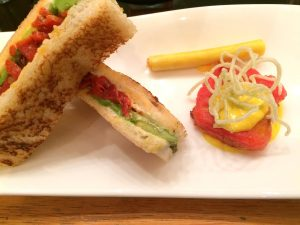 Pepper and avocado toasties, pepper cylinders and king crab tempura