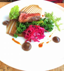 Beef bavette, ox cheek, pickled red cabbage and mushroom ketchup