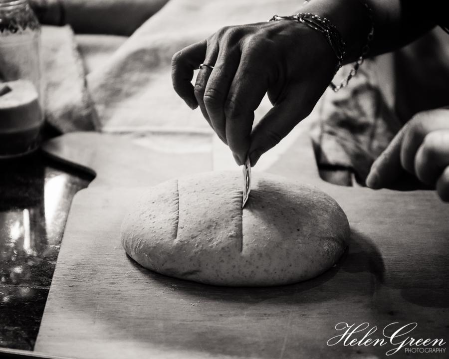 Breadmaking class - slashing the dough