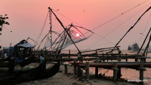 Sunset over fishing nets in Kochi, Kerala