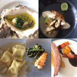 Baked oysters with bone marrow and parsley; roast cauliflower, clams, grapes and chervil; ravioli of Cornish cheddar and yarg, Roast langoustine, Cornish duck and shellfish sauce at Lee Skeet's