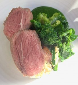 Lamb rump, Bath wild garlic, lemon quinoa and anchovies at Henry's