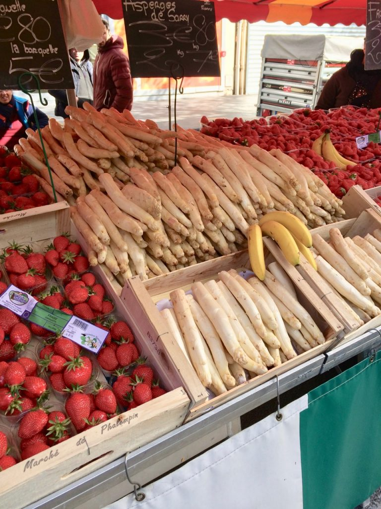 White asparagus on sale at a market in Reims, France