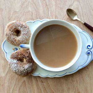 Freshly baked coconut doughnuts/donuts
