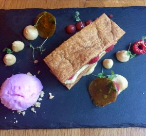 Mille Feuille with white chocolate and raspberry and champagne sorbet