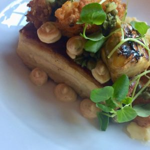 Slow cooked belly pork with crispy squid