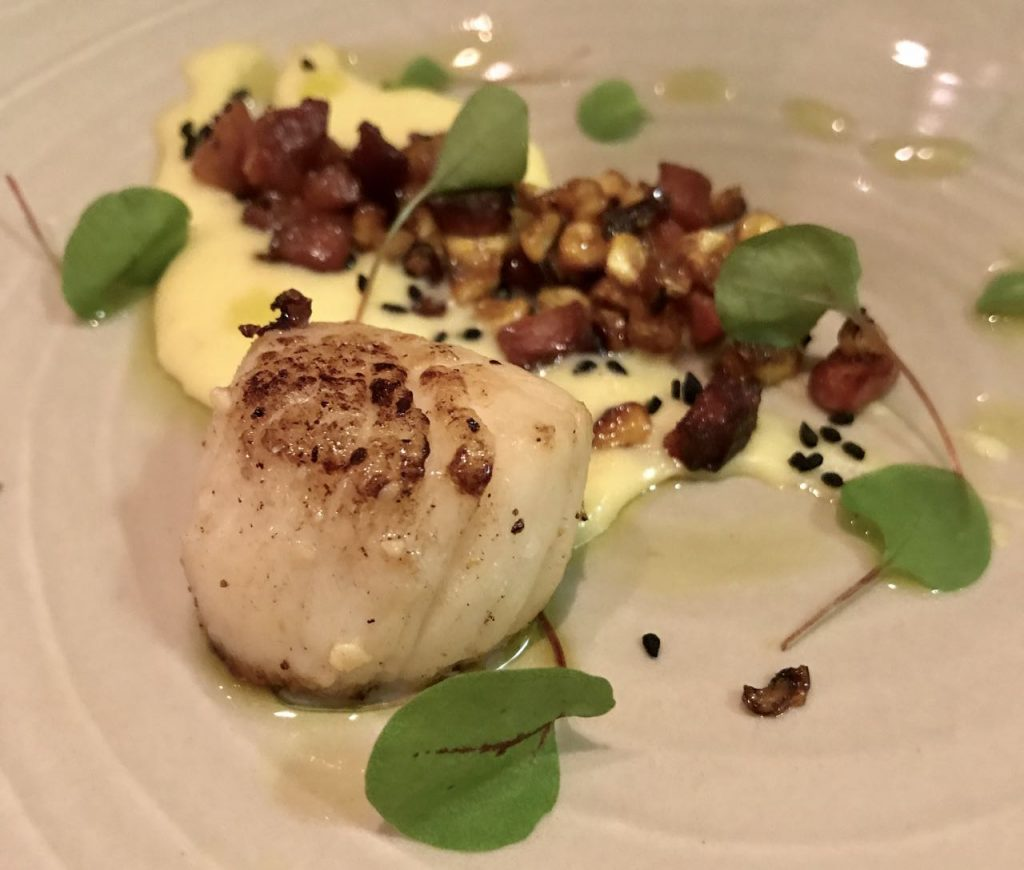 Scallop with perfectly balanced chorizo and hazelnut at the Old Passage, Arlingham