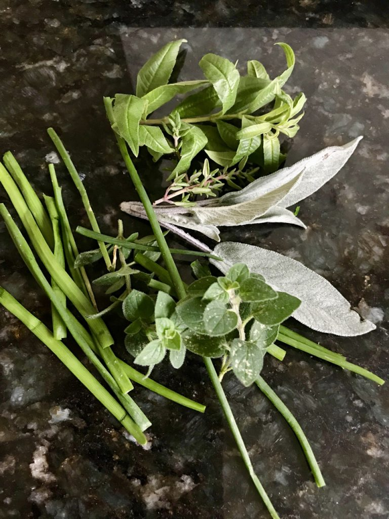 Gather a selection of herbs for your pesto
