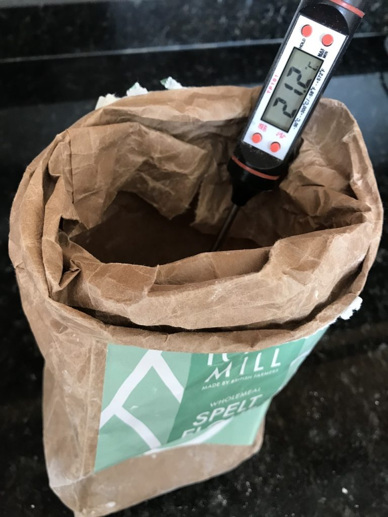 Measuring the Flour Temperature with a digital thermometer