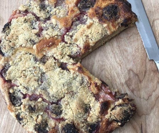 Plum frangipane tart with local Victoria plums from the freezer