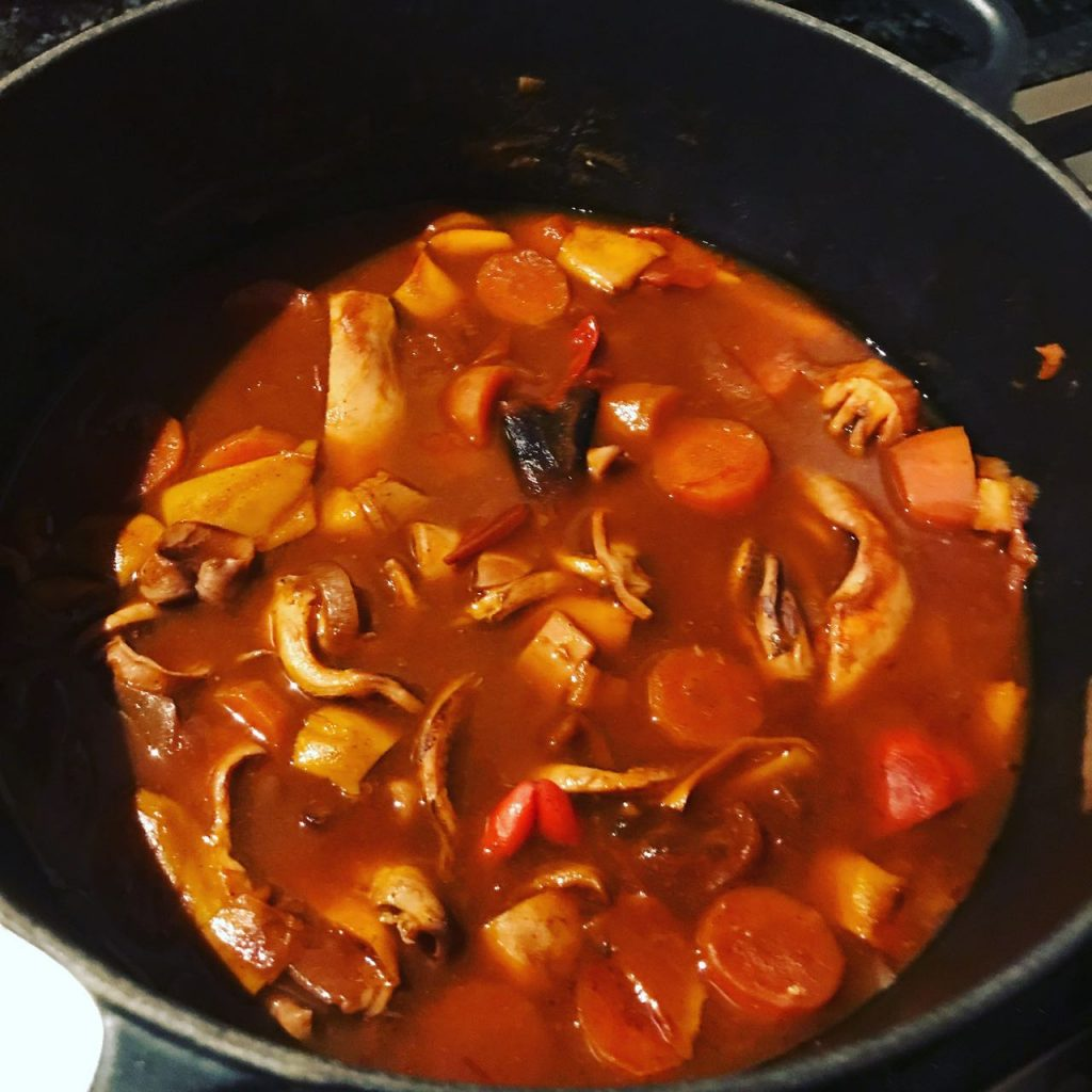 Spicy Cornish squid stew