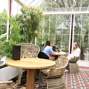 The beautiful conservatory - notice the red glass panels