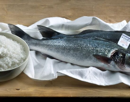 Fonda Sea Bass with Piran salt. Photograph courtesy of Fonda SI