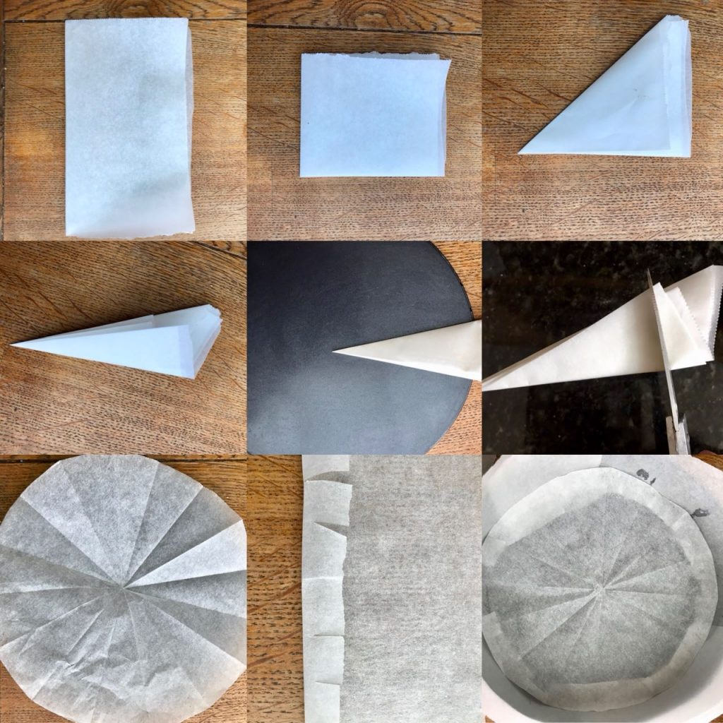 Fold your greaseproof paper in half, then half again<br srcset=