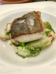Hake, mussels, peas, broad beans and baby gem