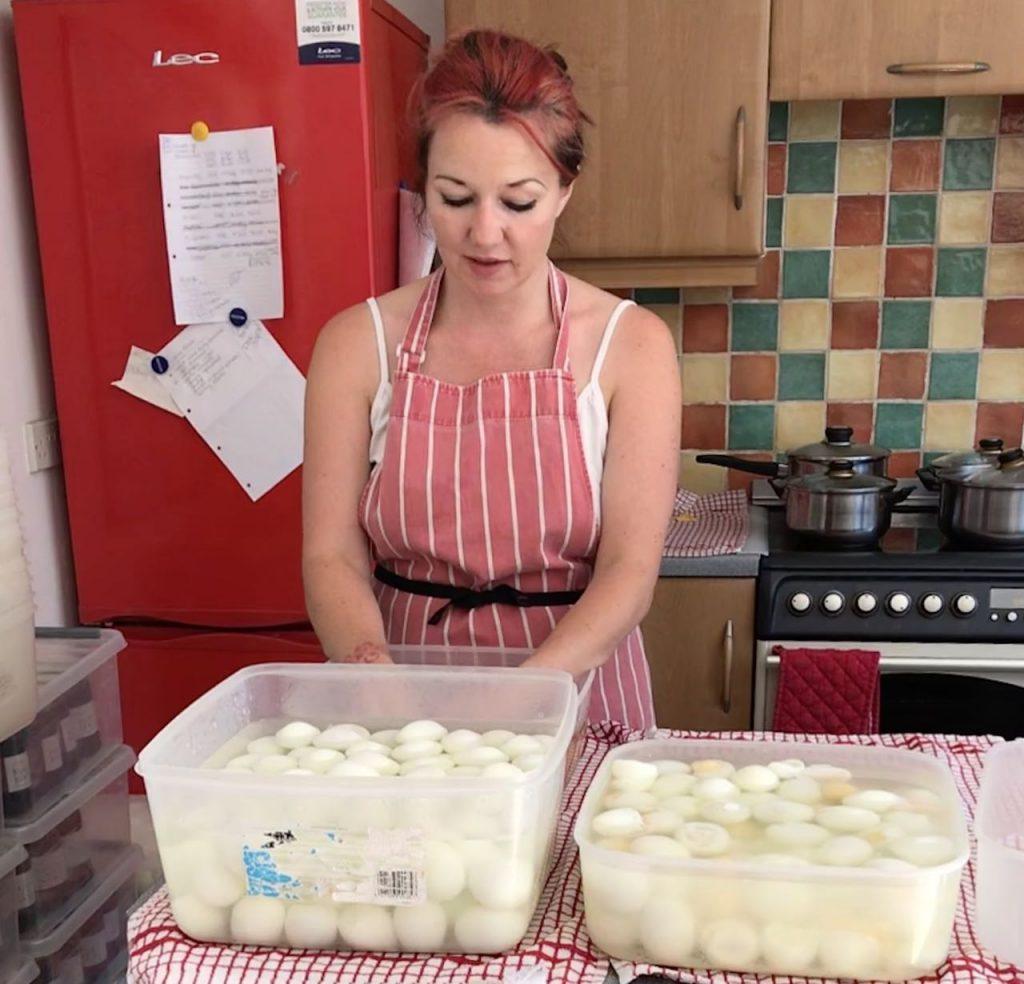 Caroline starting the process of pickling eggs