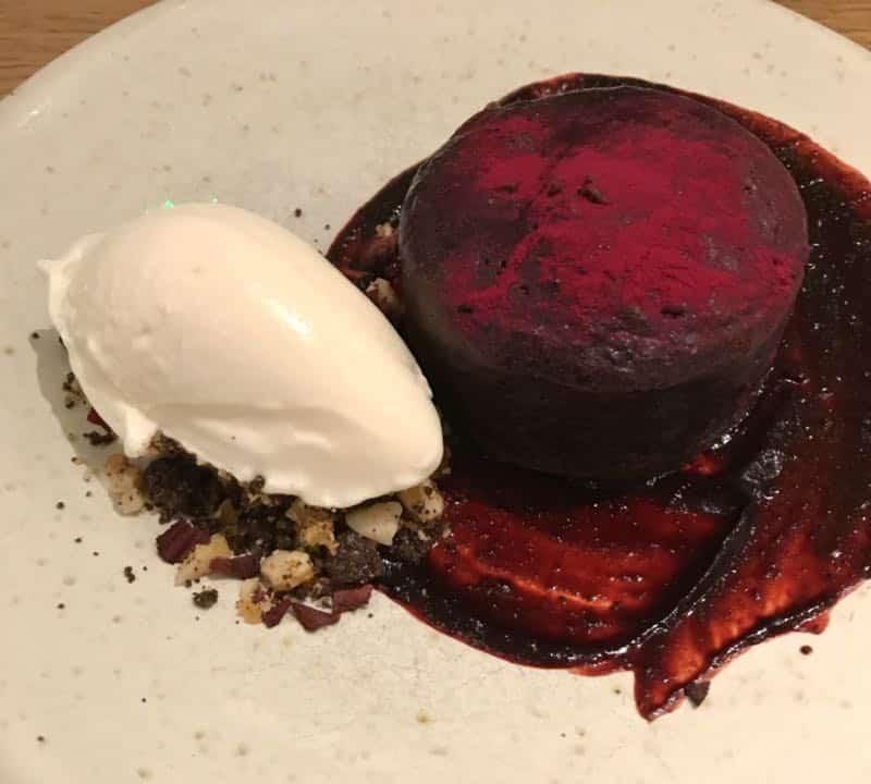 Chocolate beetroot fondant at Rovi Restaurant
