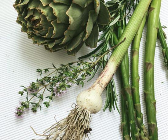 artichoke, asparagus, fresh garlic