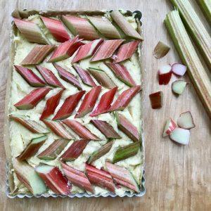 Placing raw rhubarb in tin