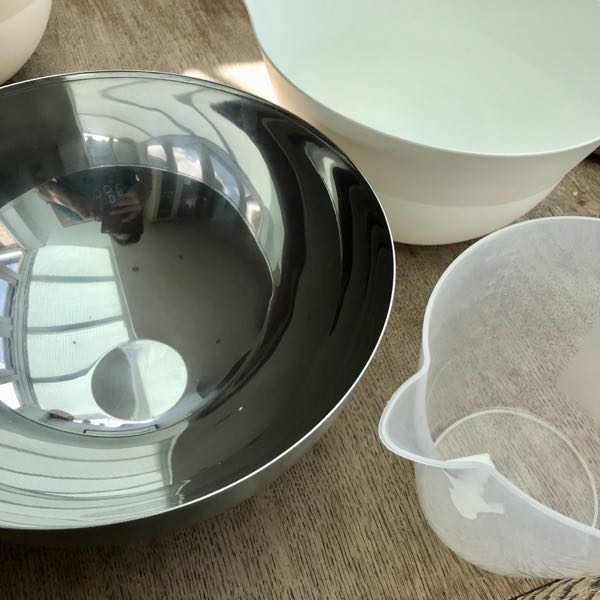 Bread Baking Essentials Large mixing bowls and jug