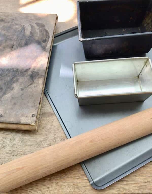 Breadbaking Essentials: Bread tins, refractory baking stone, rolling pin