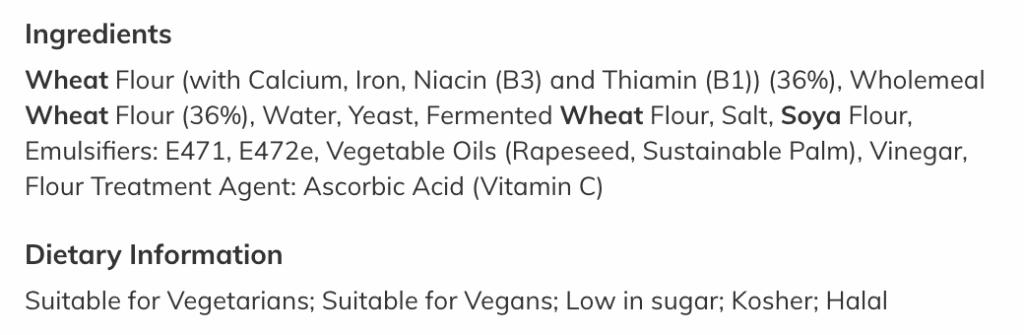 Factory loaf ingredients