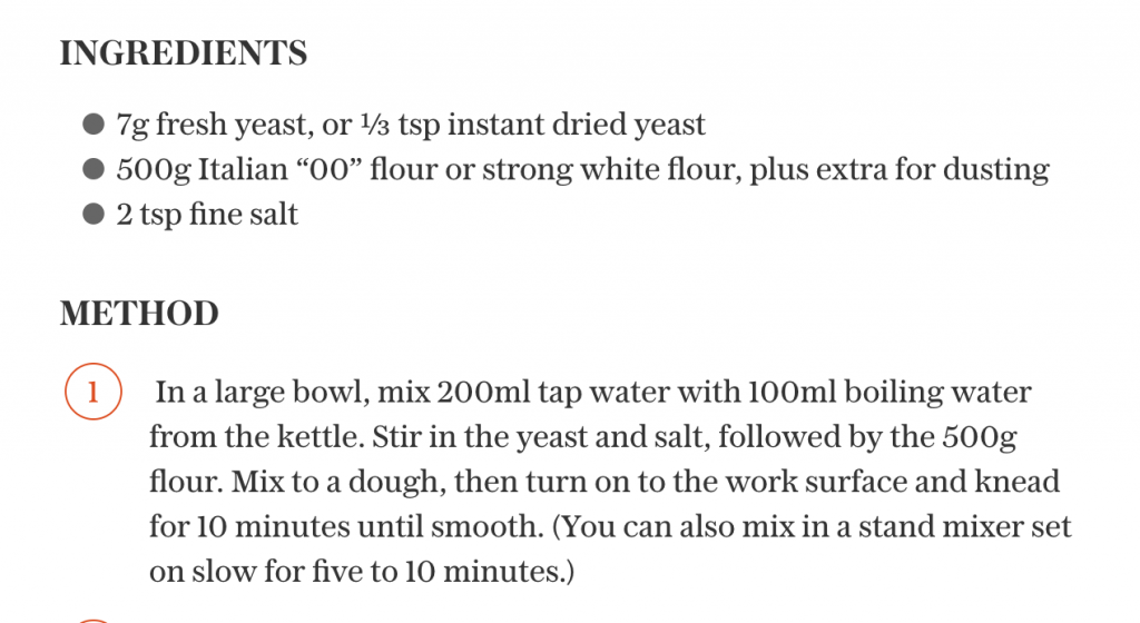 Adding boiling water to a recipe