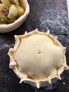 Crimp top of pastry