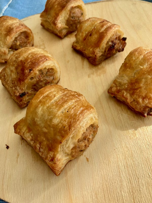 Mini Sausage Rolls made with rough puff pastry